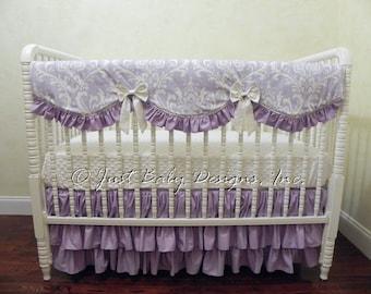 Lavender Crib Bedding Set Heather - Lavender Baby Girl Bedding,  Scalloped Crib Rail Cover, Ruffle Crib Skirt