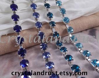 6mm ~~~ 4 Blue Rhinestone Cup Chain ~~~ Silver Base Metal ~~~ 4 yards