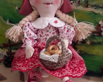 Rag Doll handmade toy fabric doll Little Red Riding Hood personalized Rag Doll Soft Doll