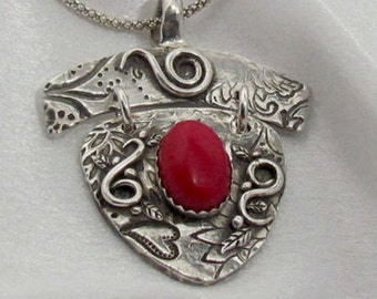 """Item 6090 - """"Passion"""" Handcrafted & sculpted 999 Fine and 925 Sterling Silver Genuine Red Coral Swirls Pendant"""
