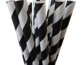 Black Paper Straws (25) Black and WHITE Paper Straws, Black Stripe Straws: Cake Pops, Diy Flag, Black White Weddings, Carnival Party
