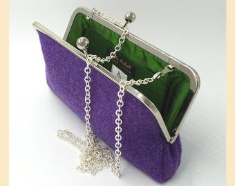 purple shoulder bag, Harris Tweed purse, tweed clutch bag, green silk lining, chain handle handbag, personalised gift for her