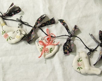 Shabby Chic Bird Garland Made from Vintage Embroidered Linen/ Two Birds and Three Hearts/ Spring Bird Garland/ Bird Garland