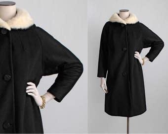 SALE! 1950s vintage Stewart's mink collar black wool coat * 1960s jacket CT133