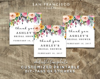 Bridal Shower Gift Tag PDF Template | Editable, PRINTABLE Custom and Personalized Favor Tags | Ashley Collection | PDF Instant Download