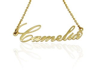 Name Necklace -Personalized necklace 14K Gold  memorial necklace nameplate necklace