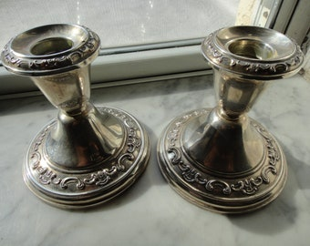 SALE BELOW 1/2 PRICE pair of Camelia 1960's Gorham sterling silver candle sticker holders