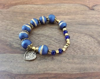Gold and blue wooden Beads Bracelet