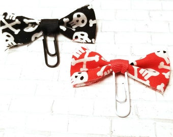 Red and Black Skull and Crossbones Bow Clips - Tattered Bow - Planner Clips - Punk Accessories - Goth Planner accessories - EmpressAnimal