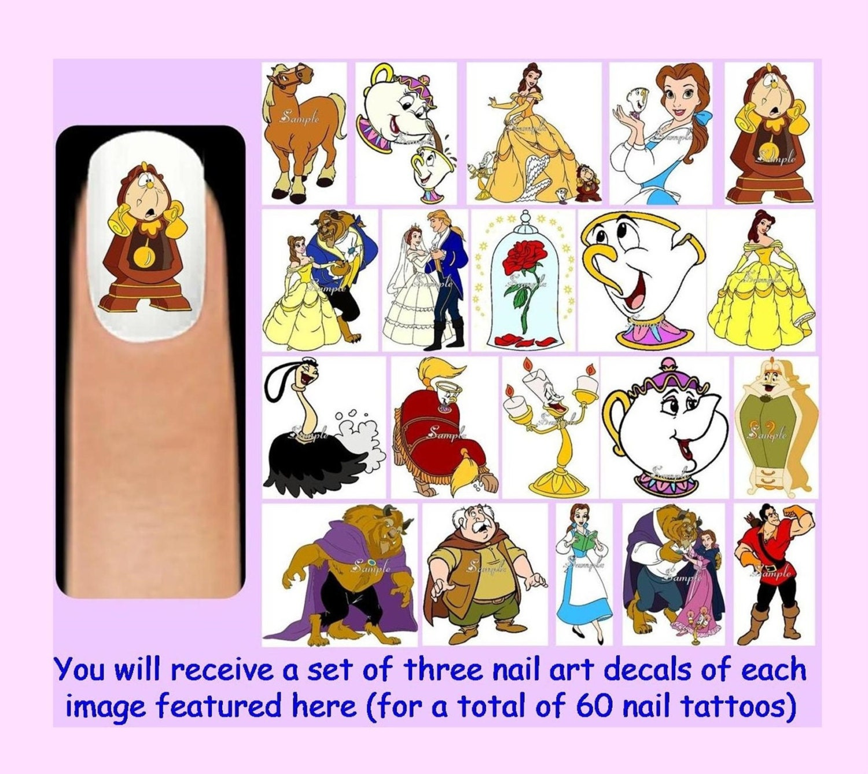 60 x Belle en het beest Nail Art stickers vrije Rhinestones
