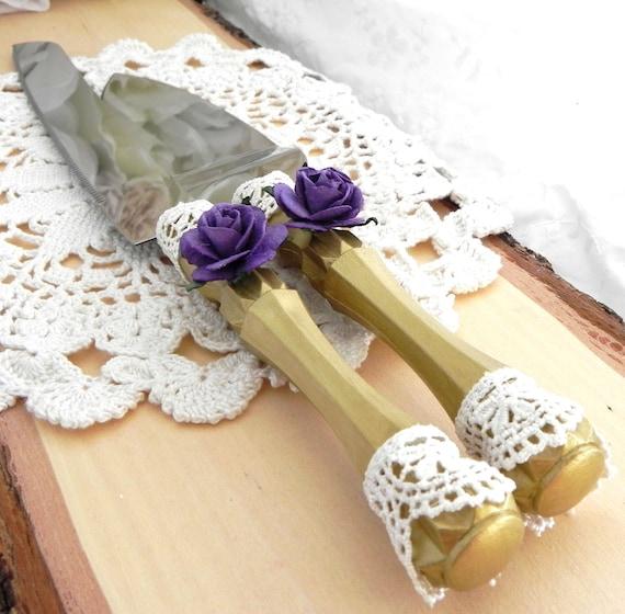 Elegant Wedding Cake Server and Knife Set, Gold and Purple, Bridal Shower, Baby Shower, Wedding Gift