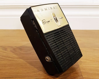 Vintage 1960 ADMIRAL Y2061 Pocket Transistor Radio, Made in USA, In Working Condition