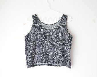 back and white abstract graphic print cropped tank top 90s // M-L