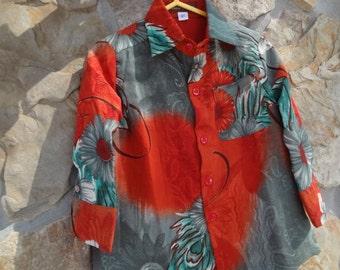 Toddler Boys Long Sleeved, Lined Ethnic Indian Sari Silk Button Down Shirt - Sibling Matching - Mabruk 2898