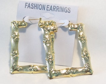VINTAGE  BAMBOO HOOP earrings Rectangle Hoop Gold Tone Bamboo Earrings Square 3 inch L and 2.25 in W