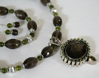 Dark Chocolate Quartz and Green Peridot Sterling Pendant Big and Bold Statement Gemstone Necklace Optional Bracelet and Earrings