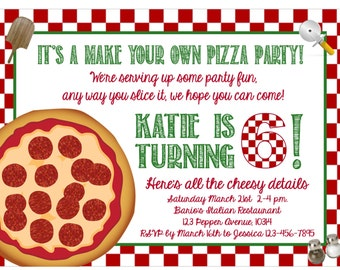 "Print at Home - ""Make Your Own Pizza Party"" Invitation"