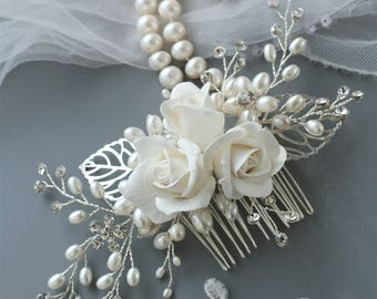 Rose hair comb Bridal hair comb Rose Wedding hair comb Bridal hair flower Bridal headpiece Bridal hair accessories Wedding hair accessories