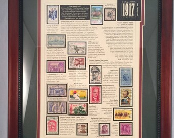 Vintage Postage Stamp Frame/A Glimpse of the past through 1917 Collection/Cancelled stamps/History of 1917