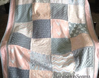 SWEET WOODLAND Quilt/Coral Gray/Adorable/Crib Size/Handmade USA