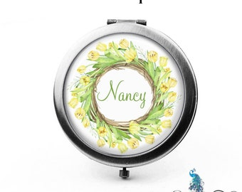 Personalized Compact Mirror Yellow Tulips Floral Wreath Bridesmaid Gifts Cosmetic Mirror Custom Favors Birthdays - The Nancy