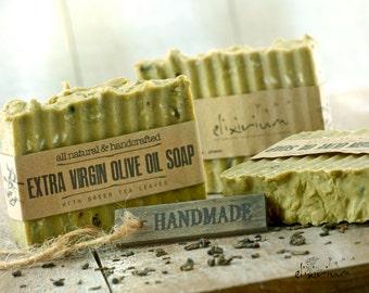 Extra Virgin OLIVE OIL Organic SOAP • Green Tea Leaves, olive oil soap, Vegan Soap, Rustic Soap, Organic skin care, Natural soap, Green soap