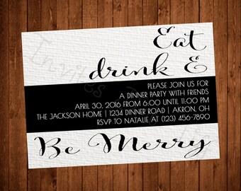 Modern & Elegant Printable Dinner Party Invitation