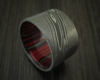 Damascus Steel Ultra Wide Band Custom Made Ring with Applejack Wood Sleeve