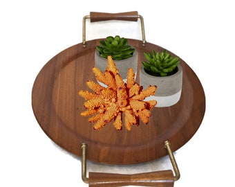 Mid Century Modern Trays Serving Tray SET Walnut Platters Snack Tray Set  Wood Cake Plates Brass