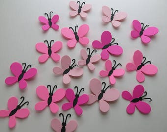"""Shades of Pink Butterfly Stickers, 3 Dimensional Confetti Table Scatter 2-3"""" Butterflies 18 Pieces"""