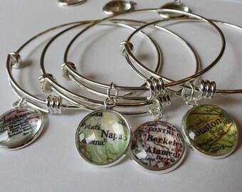 Map jewellery, Houston map bracelet, Personalized Grad, Mothers day Bracelet, Moving Away Gift, Napa map, personalized gifts, Nurse Graduate