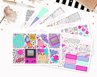 Love The 90s - Sticker Kit or A La Carte Sheets - Retro Vintage Themed Planner Weekly Kit - 180+ Stickers - Erin Condren Vertical Planner