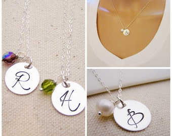 Personalized Necklace - Initial Necklace - Birthstone Necklace - Sterling Silver Initial Necklace - Monogrammed Birthstone Necklace