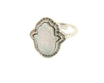 Hamsa Ring. Hamsa Hand White Opal Ring Hand of Fatima Fashion Jewelry Adjustable Women's