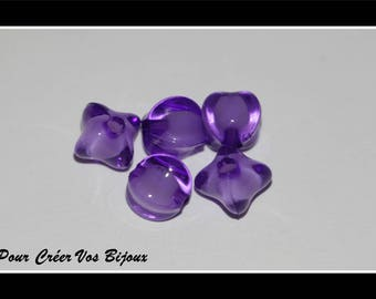 Set of 50 beads square color purple 8mm acrylic