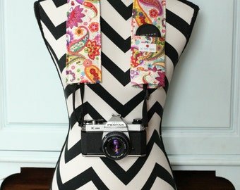 DSLR Camera Strap Cover- lens cap pocket and padding included- Garden Bright