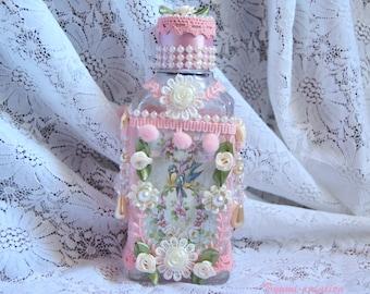 Romantic shabby bottle pink