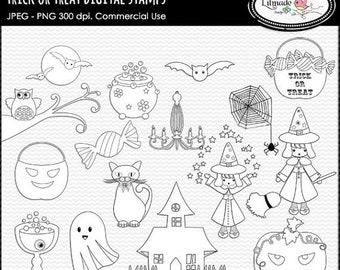 50%OFF Halloween digital stamps, Halloween line art, Halloween clip art, commercial use Halloween stamps, S142