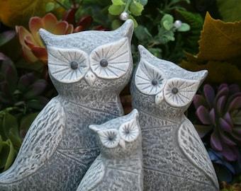 Owl Statues, Concrete 3 Owl Family, Garden Decoration, Stone Indoor or Outdoor Sculpture