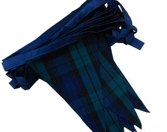 Navy Blue and Green Blackwatch Tartan Single Sided Bunting Available in Various Lengths