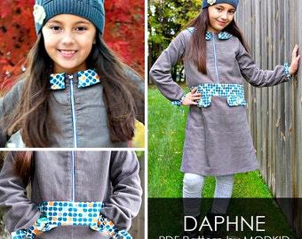 Daphne Zip-Up Jumper PDF Downloadable Pattern by MODKID... sizes 2T to 10 Girls included - Instant Download