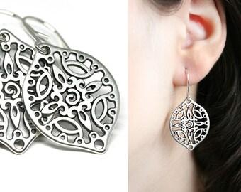 Silver Filigree earrings Boho jewelry Silver dangle large teardrop earrings for women by MayaHoney