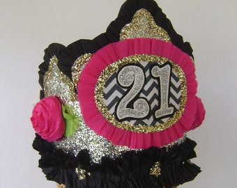 21st Birthday Party Crown, 21st birthday party hat, black and gold party hat - customize