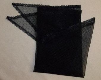 Black Fichu- Point d'Esprit Lace Shawl