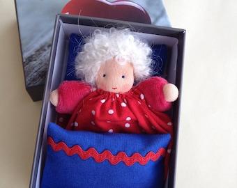 "Waldorf Doll, ""Rike"", rag doll, gift for girls, pocket doll, Doll's bed, birthday, Easter, kindergarten, cuddly doll, red,"