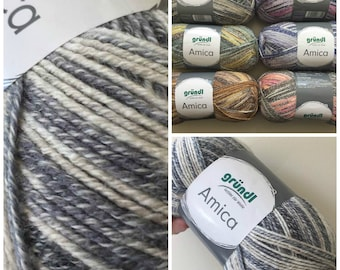Cotton summer yarn Amica from Gründl grey beige and white colours for needle size 3.5 - 4.5 100g per ball 300 meter code 08