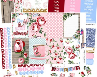 HAPPY PLANNER KIT, Smell The Roses, Weekly Kit, Planner Stickers, Happy Planner, Sticker Kit, Roses