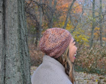 Lace beanie - variegated bronze/red