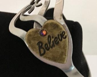 Believe  Altered Fork Bracelet