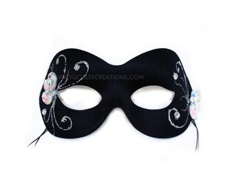 Cristal Black Hand-Painted Women's Masquerade Mask - A-2344-E